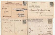 Lot 4 cartes postales timbrées timbres BELGIQUE BELGIE BELGIUM 1C 1905