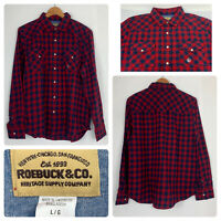 Roebuck & Co Red Flannel Long Sleeve Shirt Button Up Size L
