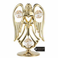 Matashi 24K Gold Plated Crystal Studded Angel Holding Heart Ornament Home Decor