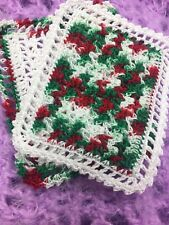 SALE!!!  Two Christmas Crocheted Miniature Dollhouse Blankets