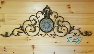 Large Tuscan Decorative Vintage Scrolling Wrought Iron Wall Grille Sculpture Art