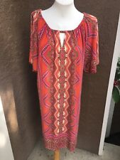 New Soldout $119 Chico's Triangle Floral Pink Multicolor Dress 3 = XL 16 18 NWT