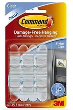 New! 3M Command Picture Hanging Clips Clear 6 Clips 8 Small Strips 17210CLR NIP!
