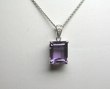 GENUINE EMERALD CUT AMETHYST AND DIAMOND PENDANT 3.45 CT