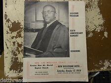 VINTAGE PROGRAM of the 6th Anniversary Banquet - Oct 17, 1959 - Rev. Lee Craig