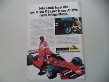 advertising Pubblicità 1978 RUOTE MOMO e NIKI LAUDA