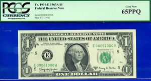 Birthday / Anniversary - 1963-A $1 FRN (( 00061000 )) PCGS 65PPQ - Fancy Serial-