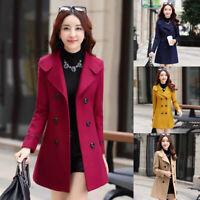 Winter Damen Revers Wolle Mantel Trenchcoat Lange Jacke Parka Warm Ol Outwear