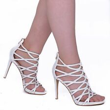 Womens High Stiletto Heels Sandals Cut Out Caged Ladies Strappy Party Girl Shoes