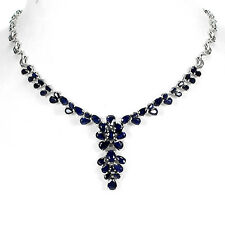 Sterling Silver 925 Genuine Natural Blue Sapphire Necklace 19 - 21 Inches