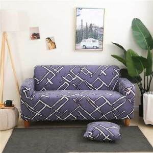 1/2/3/4 Seater Lines Elastic Soft Sofa Couch Cover Stretch Slipcover Protector