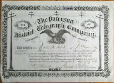 Paterson, NJ District Telegraph Co. 1886 Stock Certificate - New Jersey