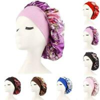 Satin Night Sleep Caps Hair Care Bonnet Hats Head Cover Wide R8G3 Nightcap V4H7