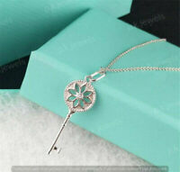 """Brilliant Sterling Silver 1.8"""" Daisy Flower Key Pendant with Diamond &18""""chain"""