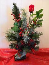 "Christmas Tree  ""Antique Roller Skates"" Floral Centerpiece  Flower Arrangement"