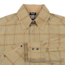 DOLCE & GABBANA Brown 2 Pocket Western Check 100% Cotton Dress Shirt - 36 / 50