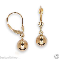 Real Solid 14K Yellow Gold 8mm Ball Dangle Earrings w/ Lever Back NEW FREE SHIP