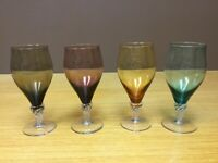 """4 Wine Goblets Glasses 6 1/2"""" Tall Crystal Spiral Twisted Clear Stems -Excellent"""