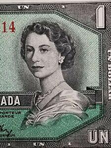 💵 1954 CANADA $1 One Dollar  Bill - Bank of Canada aUNC #22