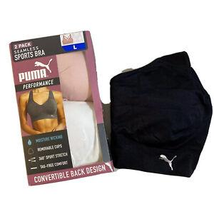 Puma Women's 2 Pack+1 Seamless Sports Bras (L) Pink/White/Black NEW