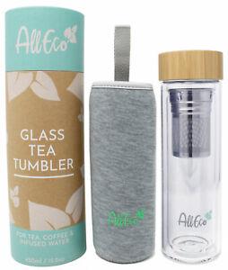 AllEco® Teebereiter Teekanne To-Go Thermosflasche doppelwandig 450ml