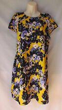 RIVER ISLAND Yellow Floral Tunic Shift Dress  Size 14
