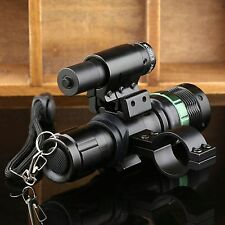 CREE LED 7W Zoom Tactical LED Flashlight w/ Red Dot Laser Sight Scope Mount Ring
