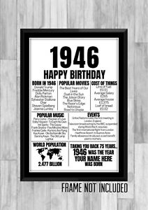 75th 1946 Personalised Birthday Gift Present Poster Print Back In Milestone