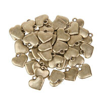 50Pcs Bronze Heart Charms Alloy Pendants for Jewelry Making Decoration Craft