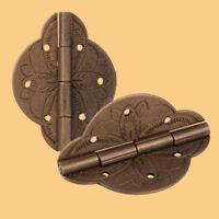 2x Vintage Brass Bronze Hinge Jewelry Box Cabinet Cupboard Case Furniture Door