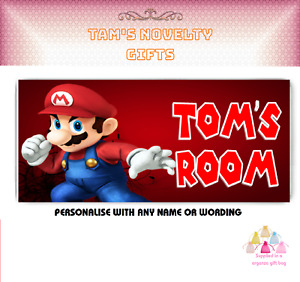 Super Mario personalised door plaque gift free uk postage any name gaming gift