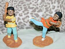 2 Little Black Boys Playing Baseball Figurines African American Players Sports
