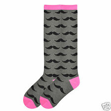K.Bell Knee High Socks Pink Toe Gray Black Mustache Ladies Rayon Blend Socks New