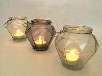 Set of 3 Glass Candle Tea Light Holder Faceted Angular Home Wedding Decoration