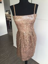 BCBG Vintage Lined Gold Sequin Minidress Size 4 With Removable Straps