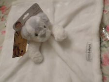 BLANKET BEYOND SECURITY PUPPY DOG WHITE VELOUR PALE GRAY ON FURRY HEAD EARS NEW