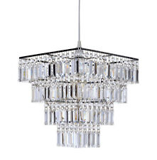 Easy Fit Square Ceiling Light Shade Pendant Chandelier Beaded Acrylic 4 Tiers