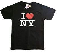 I Love NY New York Short Sleeve Screen Print Heart T-Shirt Black