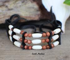 made William Lattie Cert of Auth Native American Bracelet w/ Goldstone Cherokee
