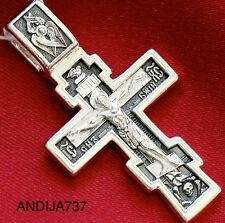 CLASSICAL MENS RUSSIAN ORTHODOX ICON PROTECTIVE CROSS , SILVER 925 NEW. BLESSED