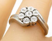 Design Cluster Ring Sz 8 - R8331 925 Silver - Vintage Genuine Diamonds Floral