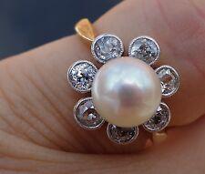 .84ct European 7.5mm pearl vintage antique diamond floral ring 18k YG