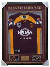 Darren Lockyer Brisbane Broncos Signed Captain Jersey Framed with Photos + COA