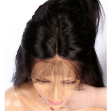Black Human Hair Wigs Women Long Straight Lace Front Full Wig With Baby Hair 26""