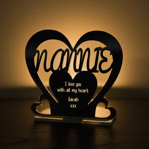 Personalised Tea Light Heart Candle Holder For NANNIE Birthday Mother's Day Gift