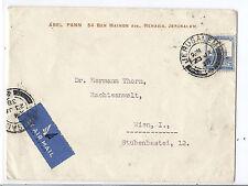 1938 Palestine Cover - Jerusalem to Austria via Airmail w/ Receiving Cancels