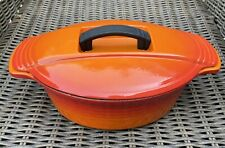 Vintage Le Creuset Futura Casserole Pot Dish Raymond Loewy Orange Oval With Lid