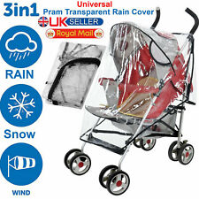 NEW UNIVERSAL WATERPROOF BUGGY PUSHCHAIR STROLLER PRAM TRANSPARENT RAIN COVER UK
