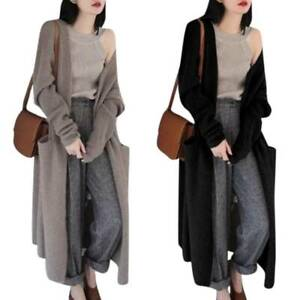 Women Knitted Long Sleeve Cardigan Coat Thick Maxi Knitwear Loose Casual Outwear