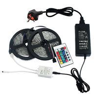 12V 10M (5M+5M) RGB SMD5050 LED Strip Light + Adapter + Remote Colour Changing